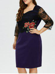 Rose Embroidery Lace Panel Midi Dress -