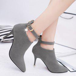 Buckle Strap Rhinestones PU Leather Ankle Boots - DEEP GRAY