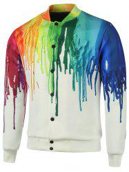 Plus Size Stand Collar Splatter Paint Cotton Jacket - COLORMIX 5XL