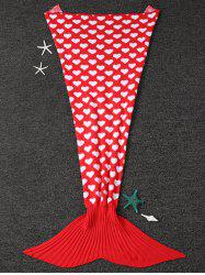 Home Decor Heart Pattern Knit Mermaid Blanket Throw For Kids