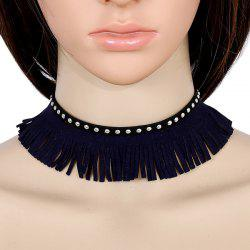 Faux Leather Velvet Rivets Tassel Choker