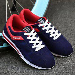 Letter Print Colorblocked Suede Sneakers - BLUE AND RED