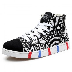 High Top Printed Canvas Shoes - WHITE AND BLACK