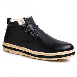 Doubel Zips PU Leather Flocking Ankle Boots -