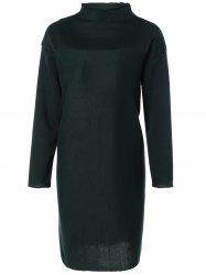 Plus Size Mock Neck Slit Sweater Dress