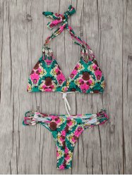Low Waisted Halter String Tropical Bikini