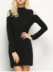 Long Sleeve Cold Shoulder High Neck Bodycon Dress - BLACK
