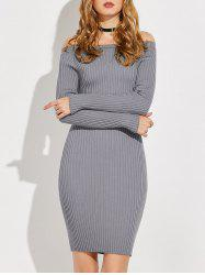 Off The Shoulder Long Sleeve Ribbed Jumper Dress