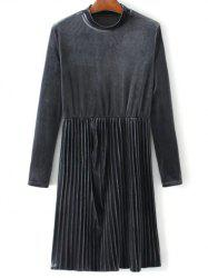 Velvet Long Sleeve Pleated Dress - GRAY