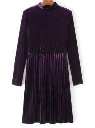 Velvet Long Sleeve Pleated Dress