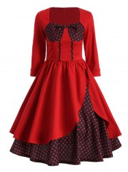 Polka Dot Flounced Swing Dress
