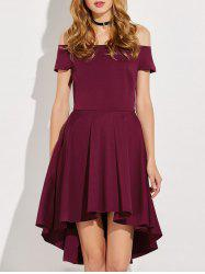 Asymmetric Pleated Off The Shoulder Dress