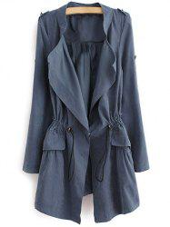 Epaulet  Drawstring Coat With Pockets - BLUE GRAY