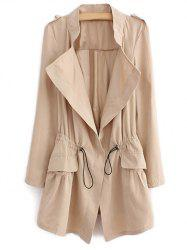 Epaulet  Drawstring Coat With Pockets - LIGHT KHAKI M