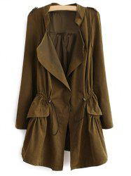 Epaulet  Drawstring Coat With Pockets -