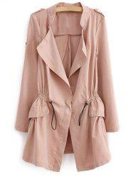 Epaulet  Drawstring Coat With Pockets - PALE PINKISH GREY