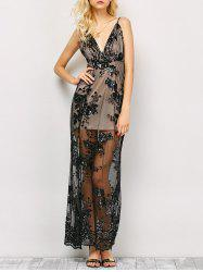 Long Plunge Sequin Slit Sheer Prom Dress
