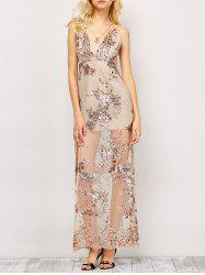 Sequin Maxi Slit Sheer Backless Evening Dress