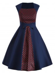 Vintage Polka Dot Color Block Swing Dress - DEEP BLUE 2XL
