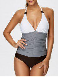 Halter Color Block Ruched One-Piece Swimwear