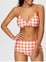Checked High Rise Bikini Set
