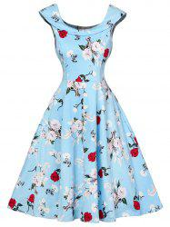 Cap Sleeve Floral Fit and Flare Dress - CHARM 2XL