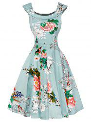 Cap Sleeve Floral Fit and Flare Dress - LIGHT GREEN 2XL