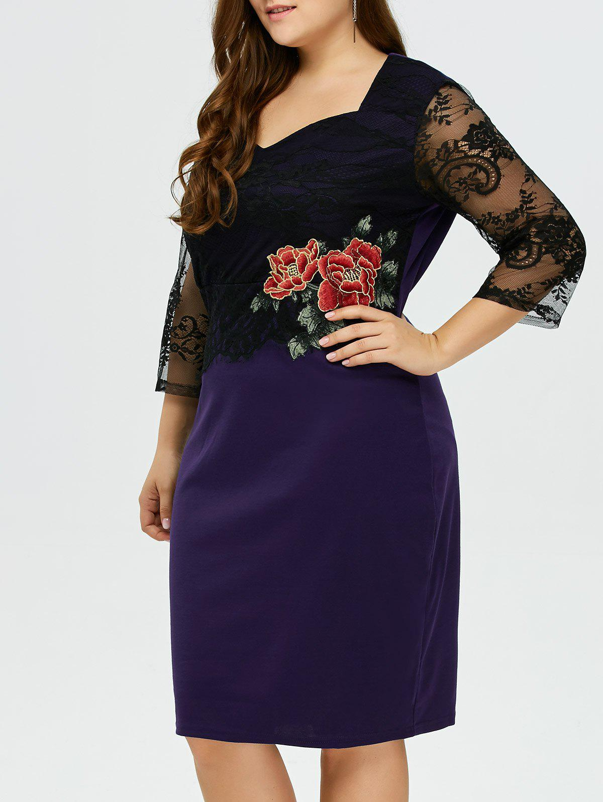 Outfit Rose Embroidery Lace Panel Midi Dress