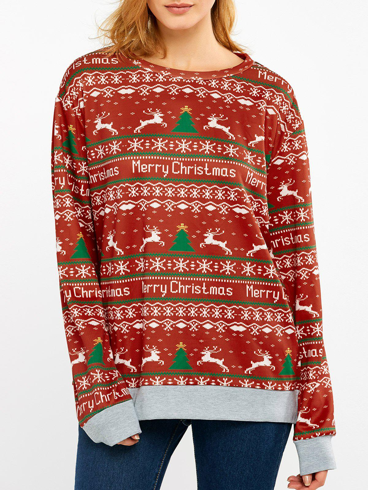 Merry Christmas Print SweatshirtWOMEN<br><br>Size: L; Color: RED; Material: Polyester; Shirt Length: Long; Sleeve Length: Full; Style: Fashion; Pattern Style: Print; Season: Fall,Spring; Weight: 0.249kg; Package Contents: 1 x Sweatshirt;