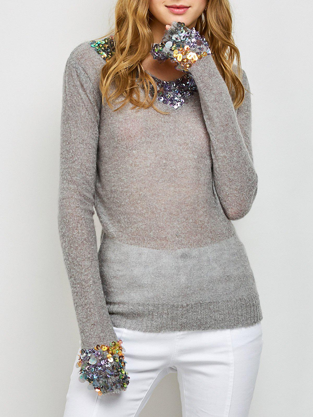 Buy V Neck Sequins Tunic Sweater