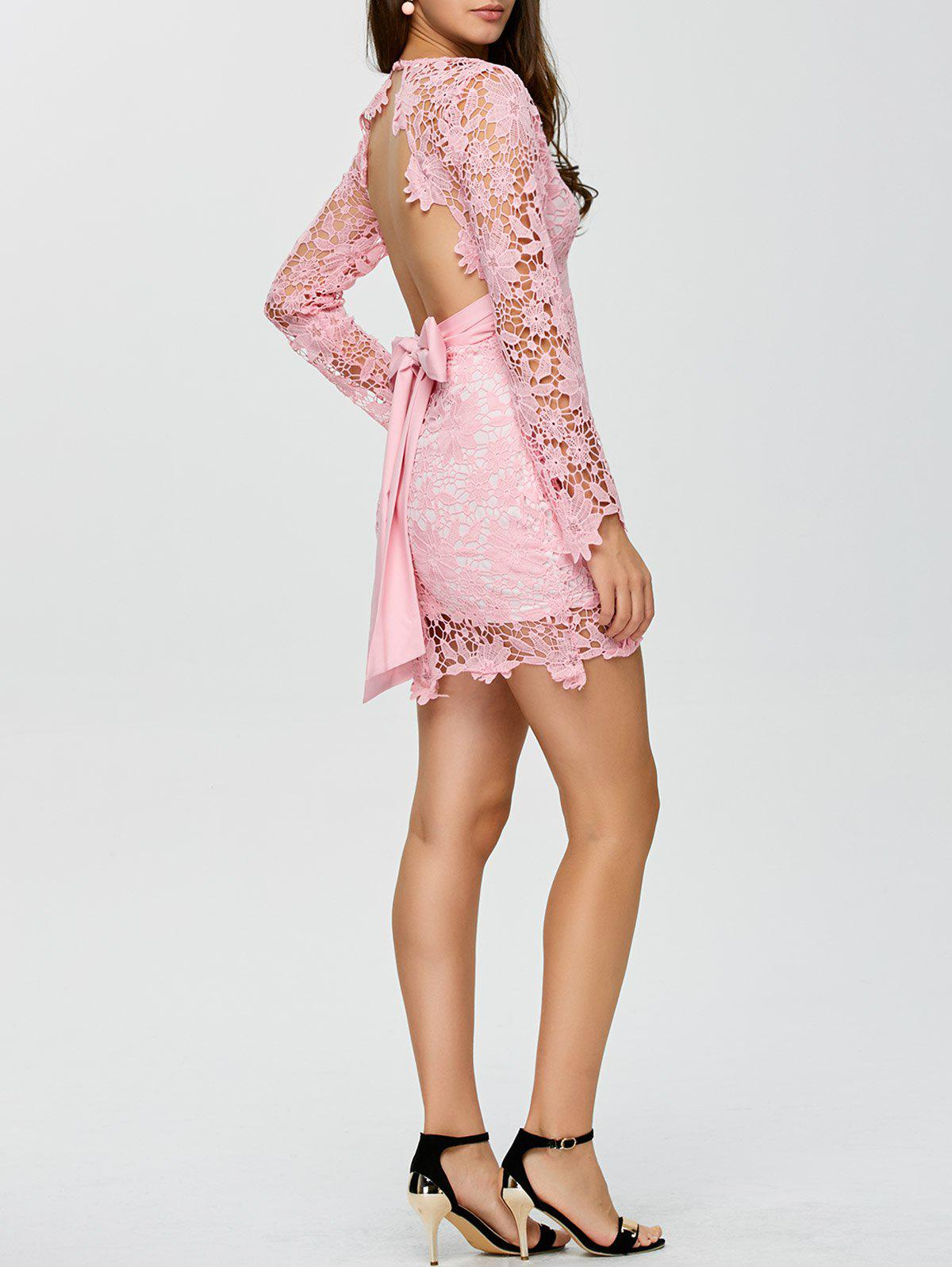 Outfit Backless Lace Short Cocktail Party Dress with Sleeves