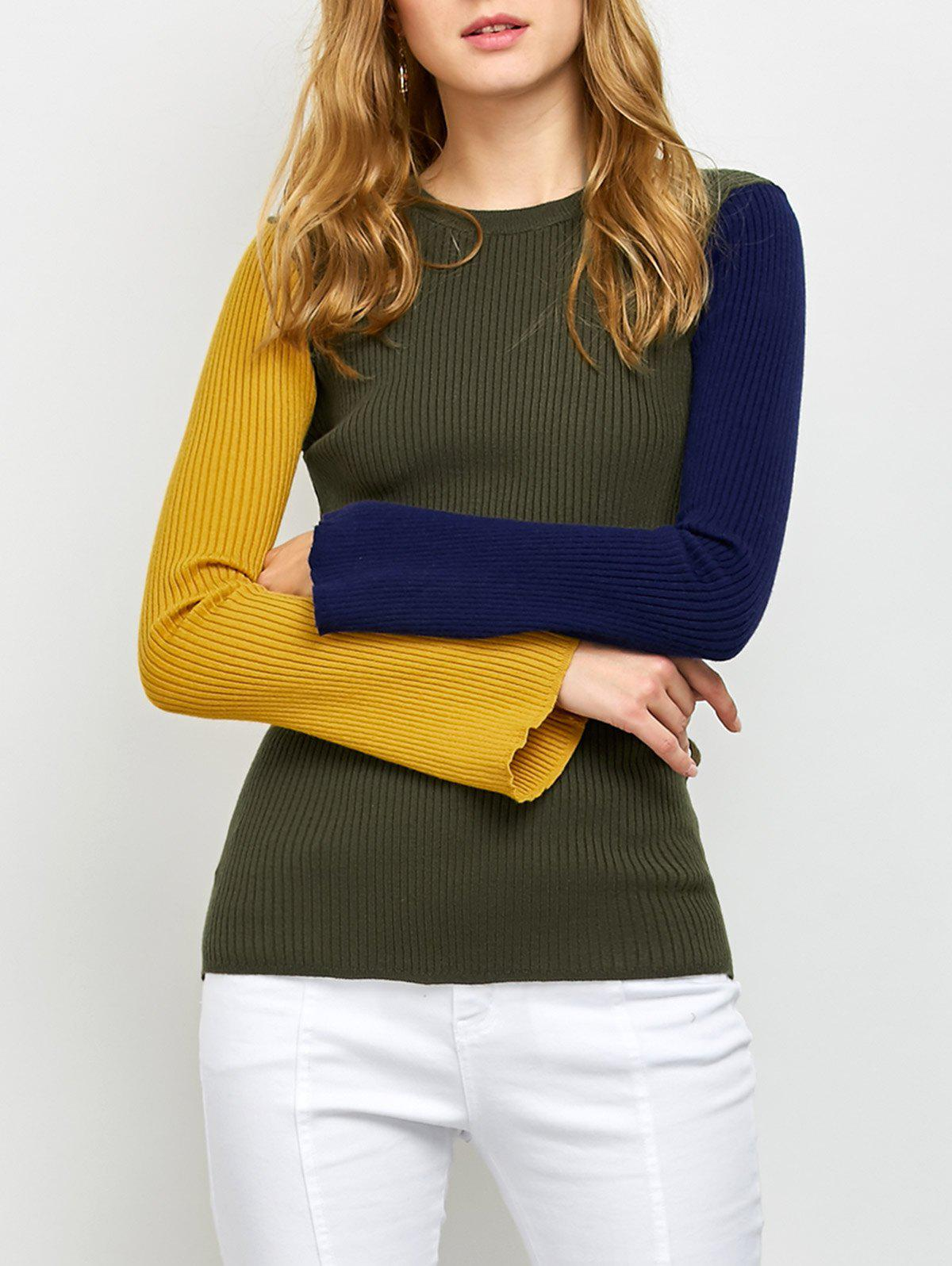 Fashion Ribbed Color Block Sweater