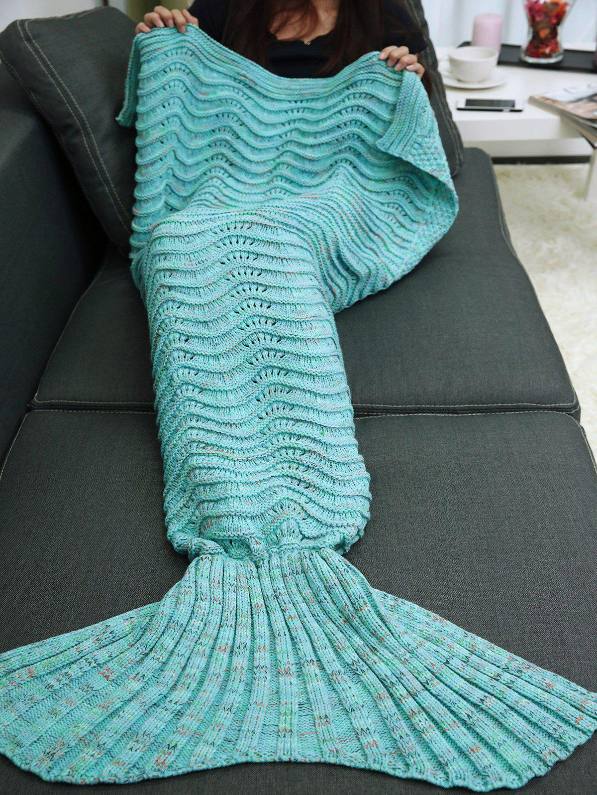 Hot Wave Stripe Knitted Sleeping Bag Mermaid Blanket