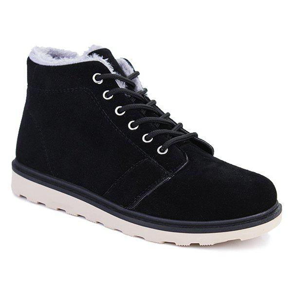 Best Flocking Suede Lace Up Ankle Boots