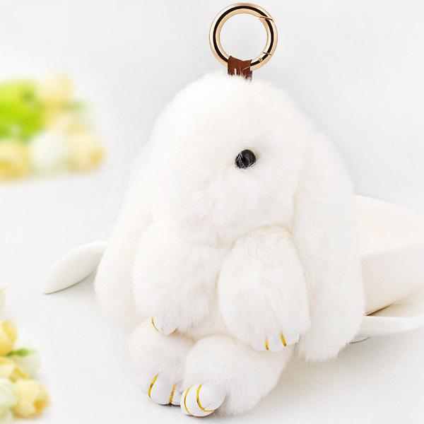 Rabbit Soft Plush Pendant Keyring Bag KeychainJEWELRY<br><br>Color: WHITE; Gender: For Women; Style: Trendy; Pattern Type: Animal; Weight: 0.0600kg; Package Contents: 1 x Keyring;