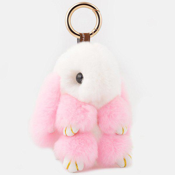 Rabbit Soft Plush Pendant Keyring Bag KeychainJEWELRY<br><br>Color: PINK AND WHITE; Gender: For Women; Style: Trendy; Pattern Type: Animal; Weight: 0.0600kg; Package Contents: 1 x Keyring;