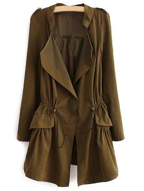 Latest Epaulet  Drawstring Coat With Pockets