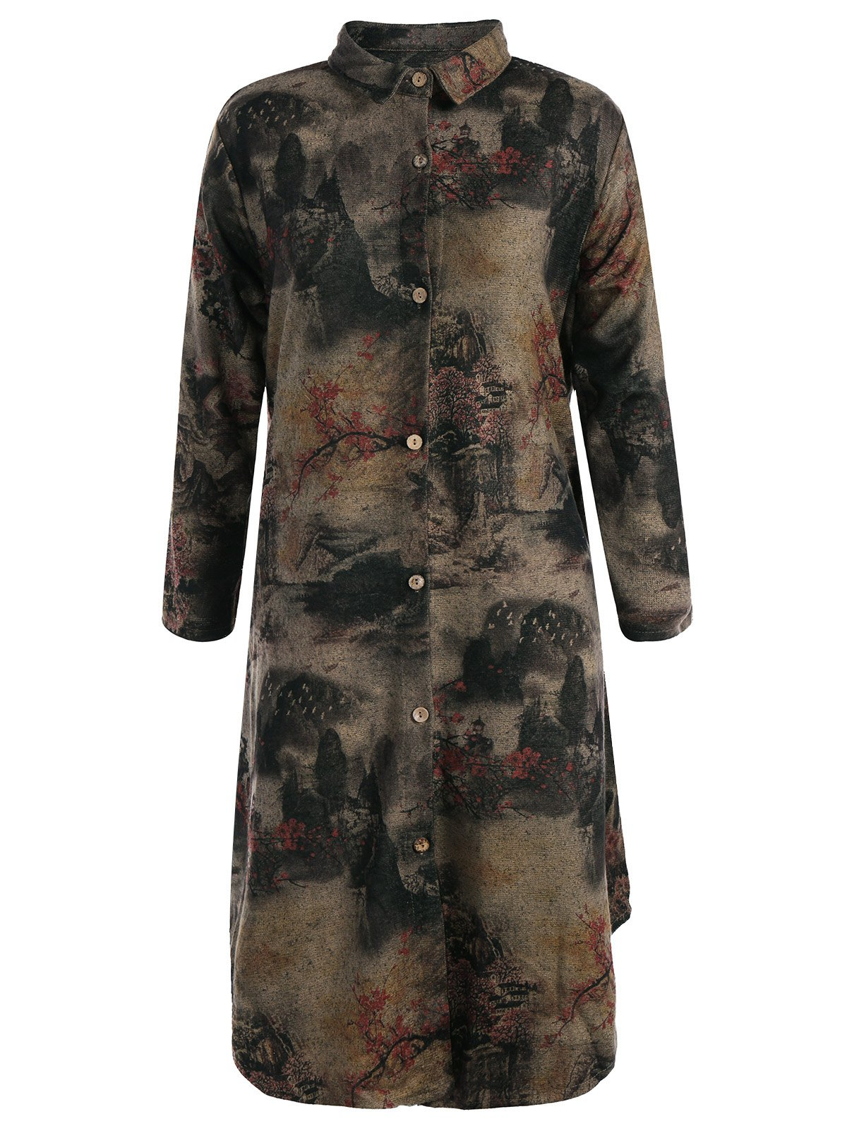 Store Landscape Ink Painting Long Button Up Coat