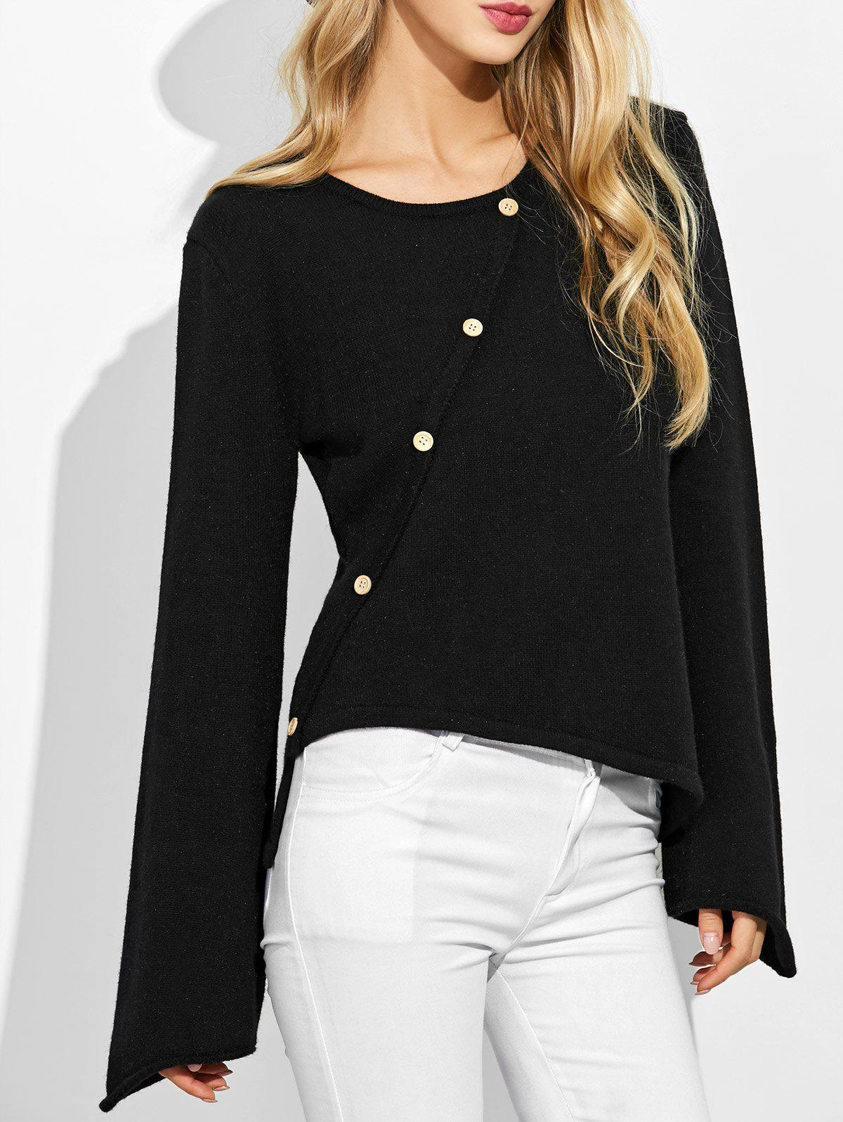 Bell Sleeves High Low KnitwearWOMEN<br><br>Size: XL; Color: BLACK; Type: Pullovers; Material: Acrylic,Cotton; Sleeve Length: Full; Collar: Scoop Neck; Style: Fashion; Pattern Type: Solid; Season: Fall,Spring,Winter; Weight: 0.370kg; Package Contents: 1 x Knitwear;