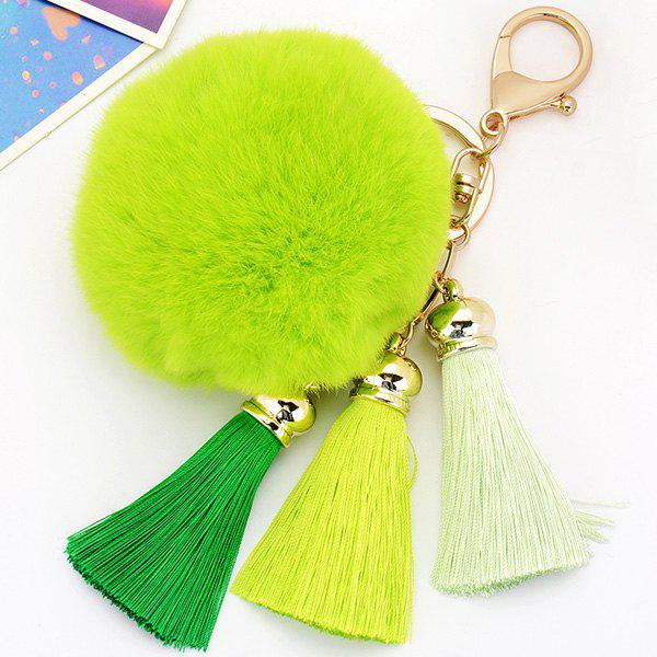 Fashion Bag Keychain Soft Flush Pom Ball Keyring With Tassel