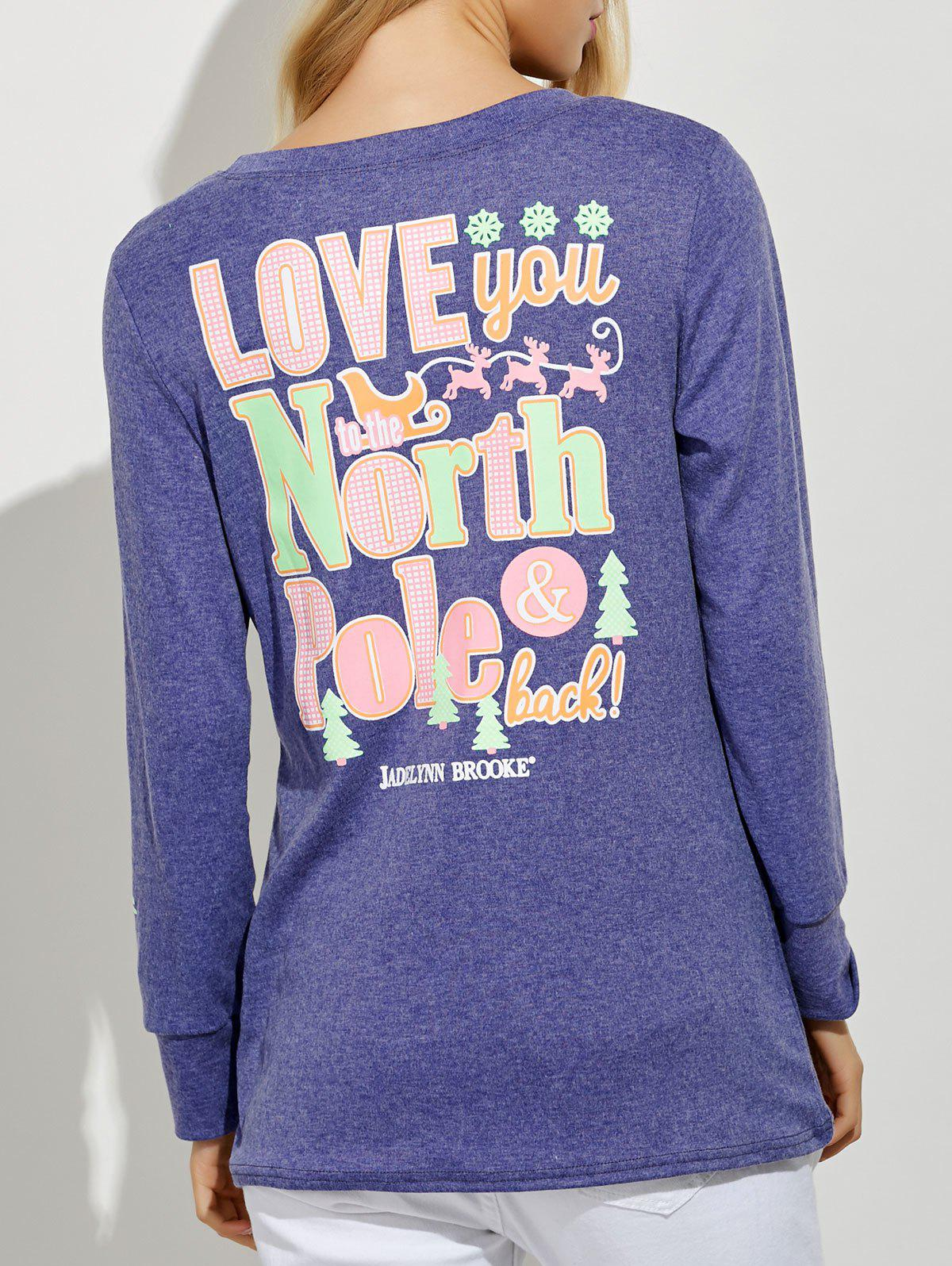 Hot Funny Print Long Sleeves Tunic T-Shirt