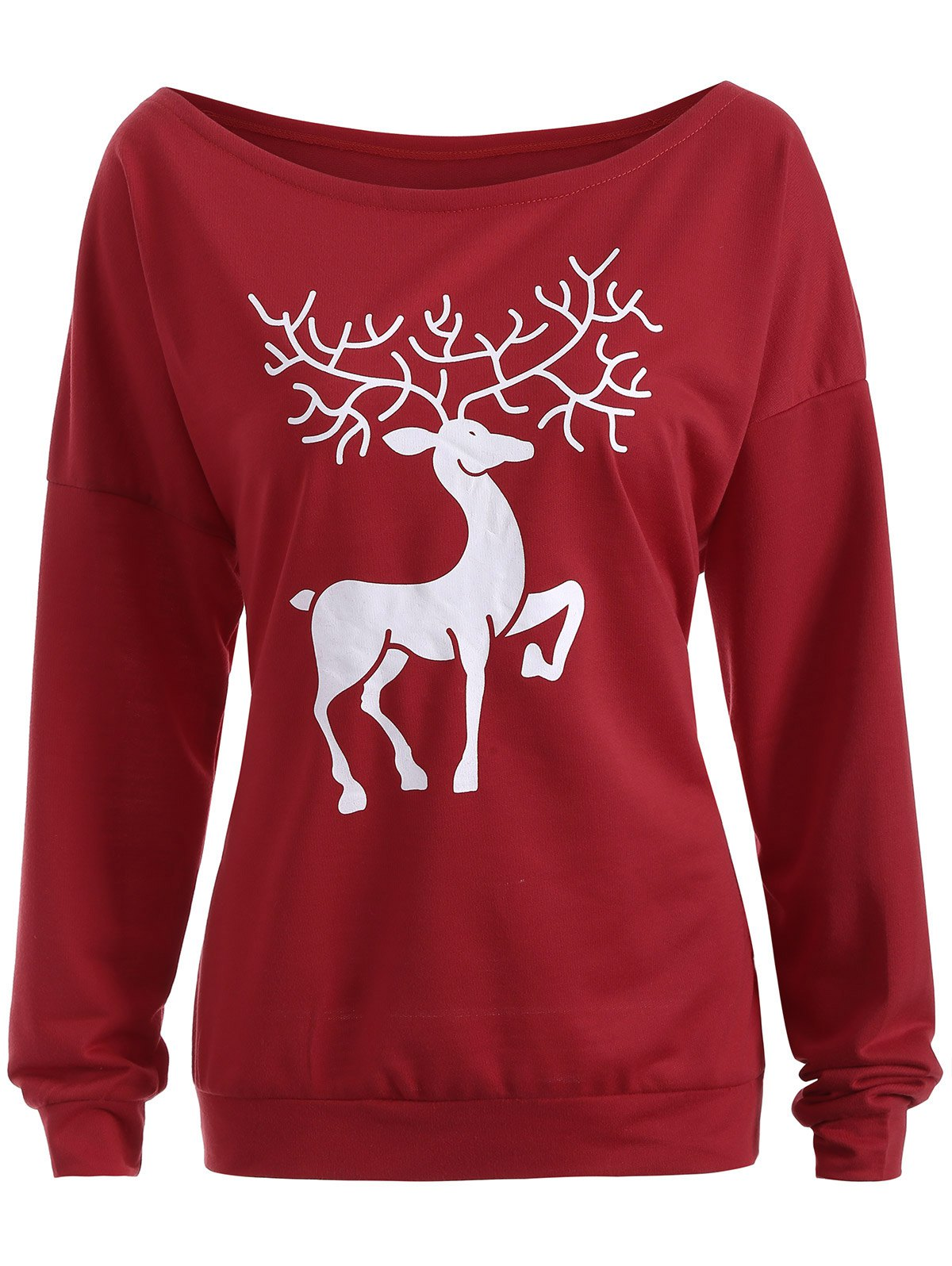 Christmas Reindeer Pullover SweatshirtWOMEN<br><br>Size: XL; Color: WINE RED; Material: Polyester,Spandex; Shirt Length: Regular; Sleeve Length: Full; Style: Streetwear; Pattern Style: Print; Season: Fall,Spring; Weight: 0.470kg; Package Contents: 1 x Sweatshirt;