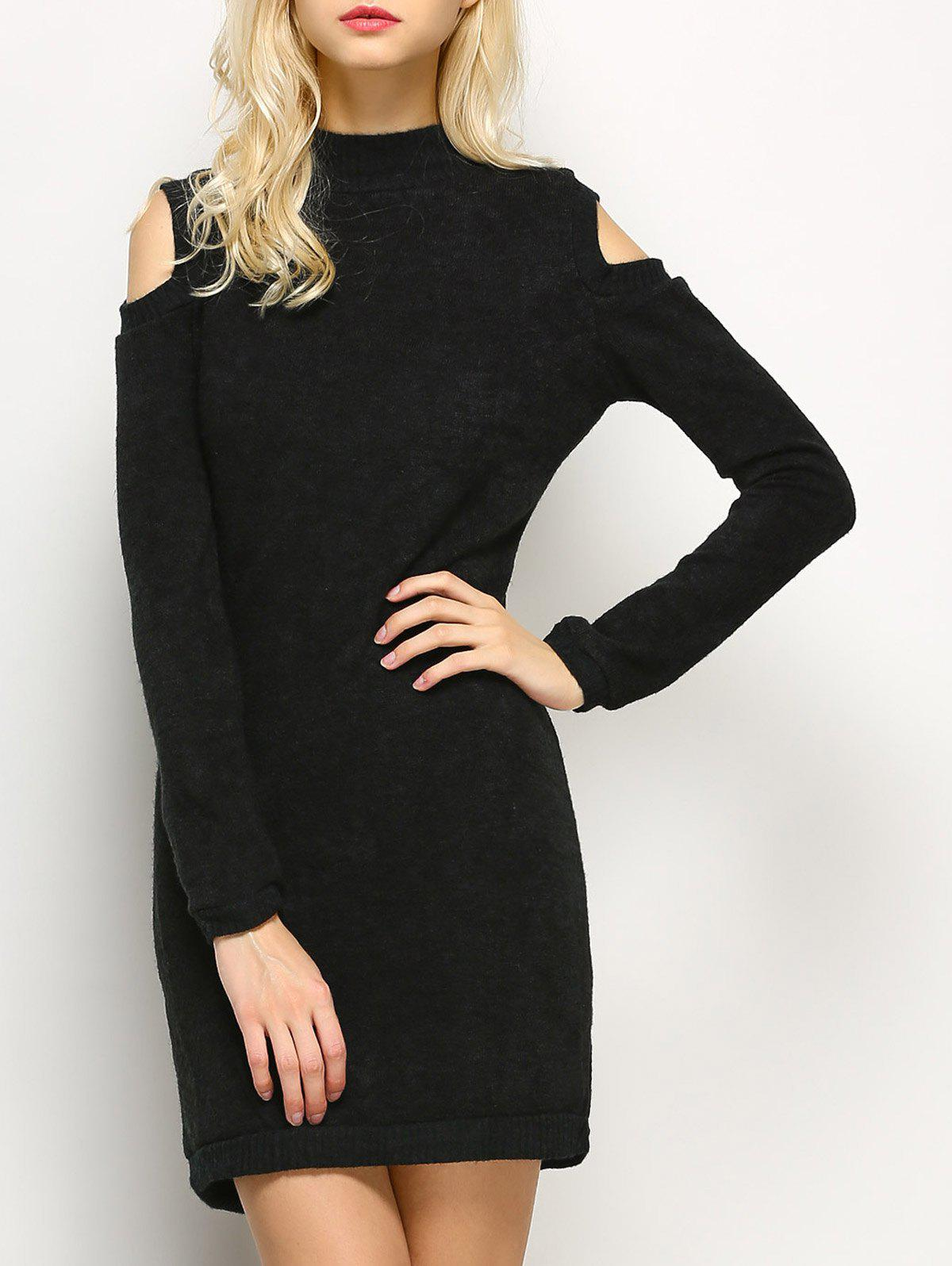 Discount Long Sleeve Cold Shoulder High Neck Bodycon Dress