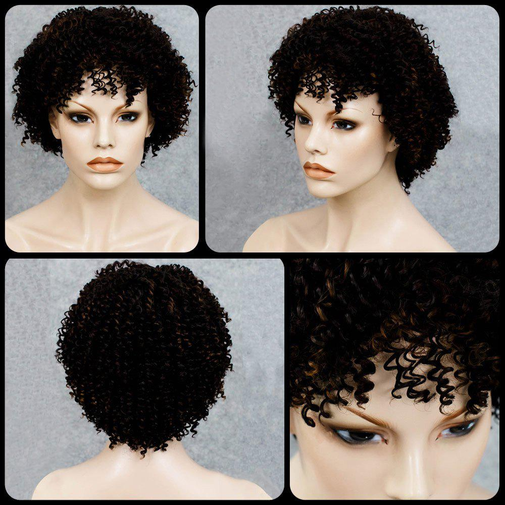 Cheap Stylish Black Mixed Synthetic Shaggy Afro Curly Capless Wig For Women
