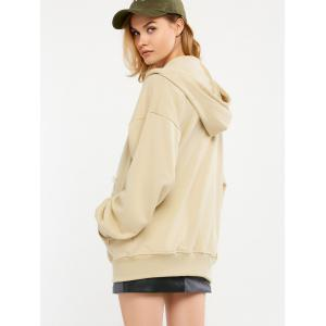 Zip Up Drop Shoulder Drawstring Hoodie -