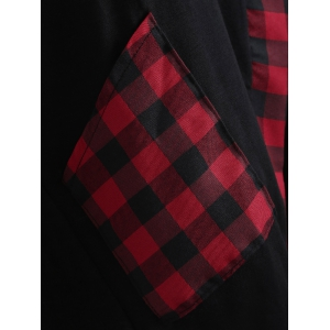 Asymmetrical Plaid Insert Overlap Tee - BLACK L