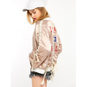 Graphic Satin Jacket with Lace Up -
