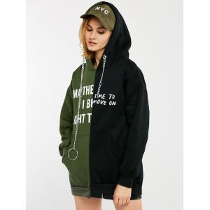 Graphic Print Tunic Panel Hoodie with Chain -