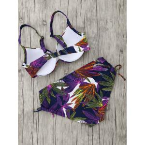 Plus Size Leaves Print Bikini Set -