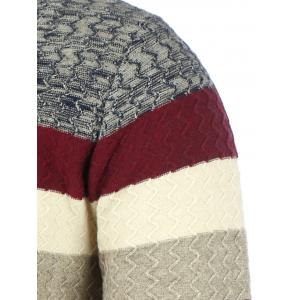 Color Matching Wavy Stripes Knitted Sweater - BURGUNDY 3XL
